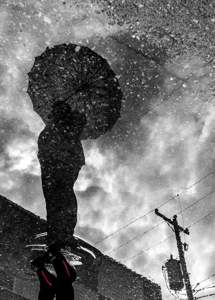 eau, réflexion, noir et blanc